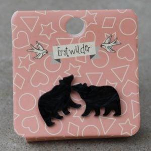 Erstwilder Earrings – Black Bear Studs