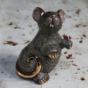 morpeth gift gallery hunter valley rinconada de rosa pottery enamel gold gilded figurine uruguay collectable black rat mouse