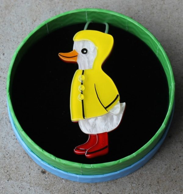 morpeth antique centre hunter valley erstwilder brooch duck duck splash raincoat wellies boots earrings necklace cardigan clips whatever the weather four seasons retro collectable