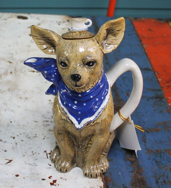 morpeth gift gallery hunter valley novelty teapot blue sky ceramics dog chihuahua tea cup