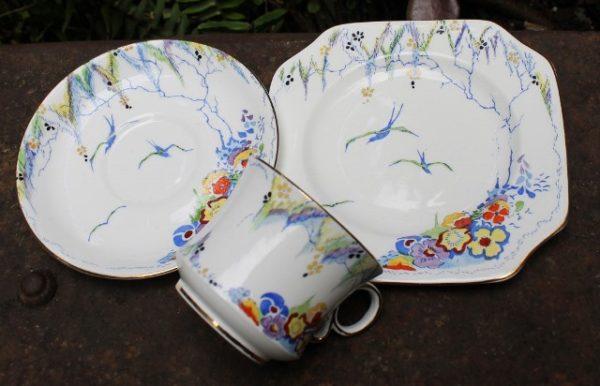 morpeth antique centre hunter valley carltonware trio floral birds swallow blue