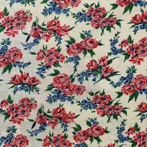 Feed Sack Vintage Fabric – Pink/red Flowers & Blue Forget-me-nots
