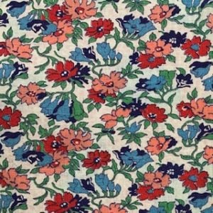 Feed Sack Vintage Fabric – Red, Salmon & Blue Flowers