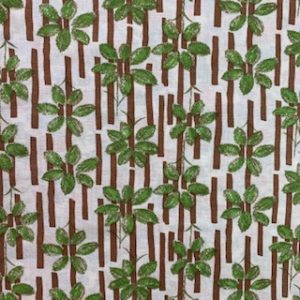 Feed Sack Vintage Fabric – Green Leaves & brown stripes