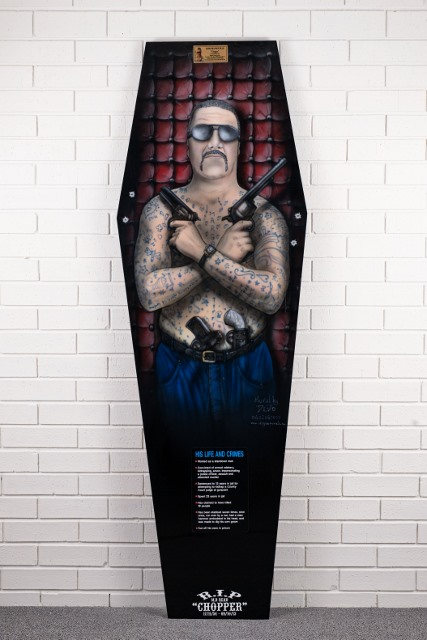morpeth gallery hunter valley mark brandon chopper read underbelly coffin coffee table portrait meat cleaver history