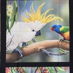 Fabric Panel 3 images Gallahs, Sulphur Crested Cockatoo, Rainbow Lorikeets
