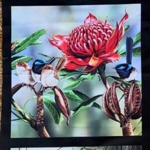 Fabric Panel 3 images Rosellas, Waratah & Wrens, King Fisher