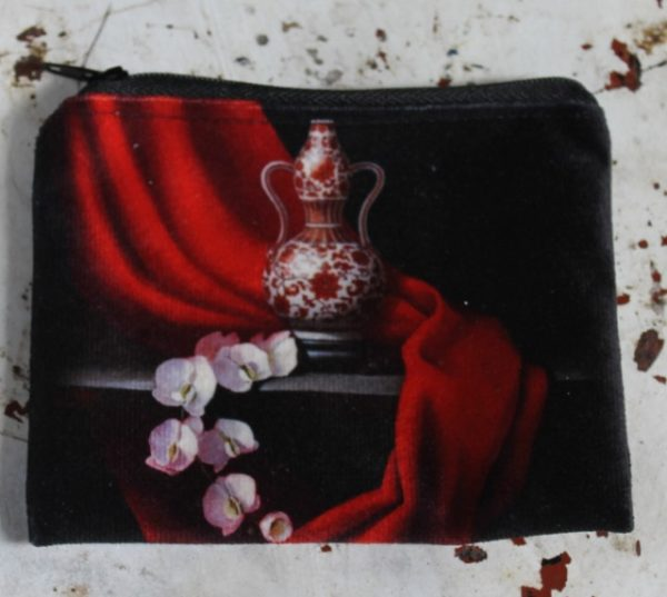 morpeth gift gallery hunter valley zip zippered purse coins toiletries make-up keys pippa chapman red dynasty oriental vase orchid flower