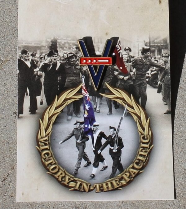 morpeth gift gallery antique centre hunter valley world war two WWII ANZAC pin badge VP victory pacific day morse code remembrance we will remember them
