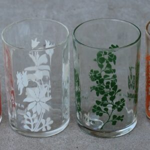 Australian Wildflower Glass – Set of Four (Orange Glass has pyro glaze wear)