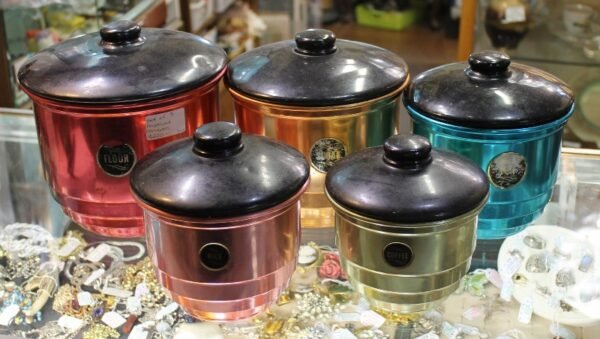 morpeth antique centre hunter valley vintage anodised kitchen canister set five kazza's kuriosities