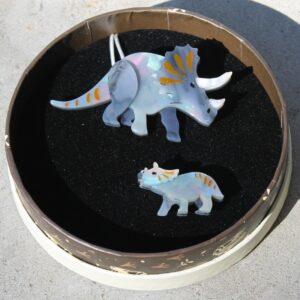 Erstwilder Double Brooch – Herbivore Heritage (Triceratops)
