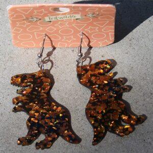 Erstwilder Earrings – Dinosaur Orange Glitter