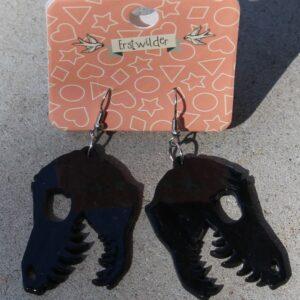 Erstwilder Earrings – Dino Head Black Swirl
