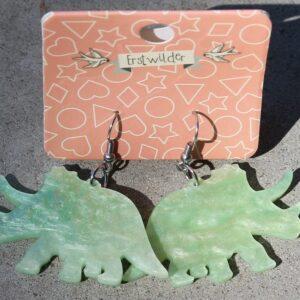 Erstwilder Earrings – Triceratops Light Green Swirl