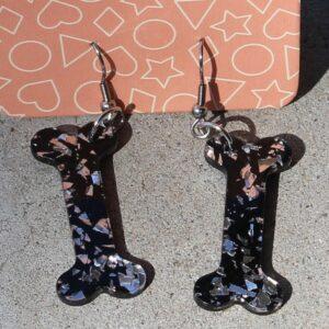 Erstwilder Earrings – Bones Black Glitter
