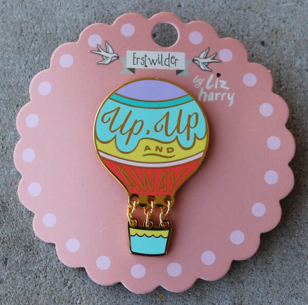 morpeth antique centre hunter valley erstwilder enamel pin earring brooch necklace liz harry hot air balloon up and away retro enamel pin up collectable