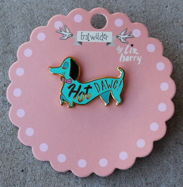 morpeth antique centre hunter valley erstwilder enamel pin earring brooch necklace liz harry hot dawg dachshund dog retro enamel pin up collectable