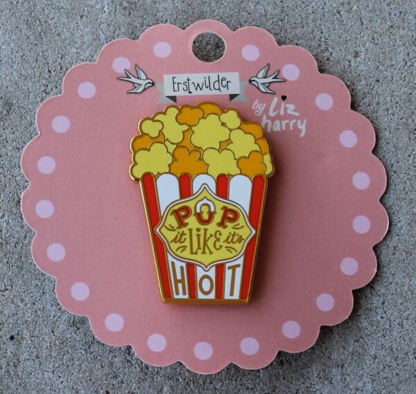 morpeth antique centre hunter valley erstwilder enamel pin earring brooch necklace liz harry pop like it's hot popcorn movies theatre box butter retro enamel pin up collectable