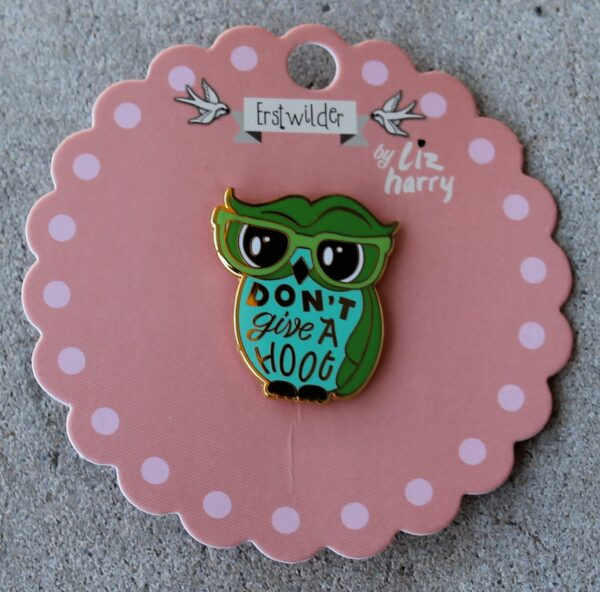morpeth antique centre hunter valley erstwilder enamel pin earring brooch necklace liz harry don't give a hoot owl retro enamel pin up collectable