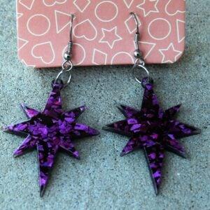 Erstwilder Earrings – Starburst Purple Glitter