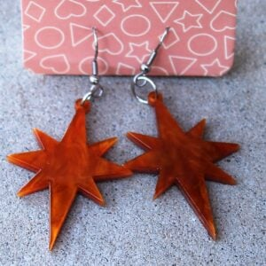 Erstwilder Earrings – Starburst Orange Swirl