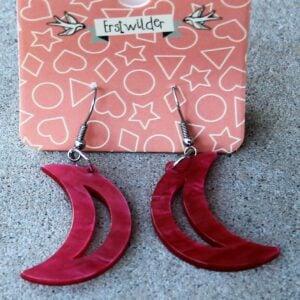 Erstwilder Earrings – Crescent Moon Pink Swirl