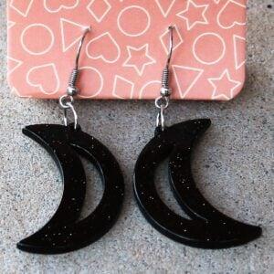 Erstwilder Earrings – Crescent Moon Black Sparkle
