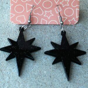 Erstwilder Earrings – Starburst Black Sparkle