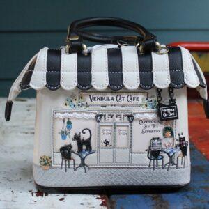 Vendula Mini Grab Bag – Cat Cafe (Black/White)