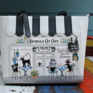 Vendula Shopper – Cat Cafe (Black/White)