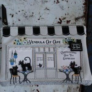 Vendula Zipper Coin Purse – Cat Cafe (Black/White)