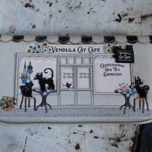 Vendula Ziparound Wallet Large – Cat Cafe (Black/White)