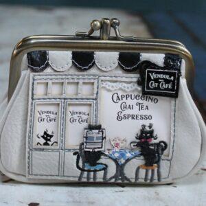 Vendula Clipper Coin Purse – Cat Cafe (Black/White)