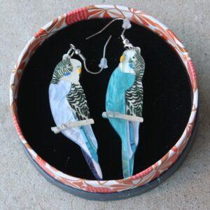 Erstwilder Earrings – Pair O'Keets (Budgerigar)