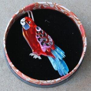 Erstwilder Brooch – Everything's Rosy (Crimson Rosella)