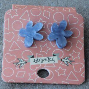 Erstwilder Stud Earrings – Flower (Blue Swirl)
