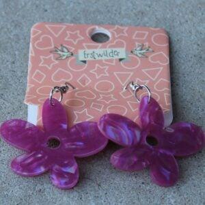 Erstwilder Drop Earrings – Flower (Fuchsia Pink)