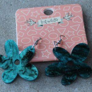 Erstwilder Drop Earrings – Flower (Green Swirl)