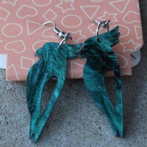 Erstwilder Earrings – Cockatoo (Green Swirl)