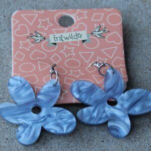 Erstwilder Drop Earrings – Flower (Blue Swirl)