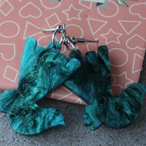 Erstwilder Earrings – Willie Wagtail (Green Swirl)