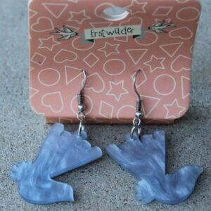 Erstwilder Earrings – Willie Wagtail (Blue Swirl)
