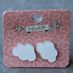 Erstwilder Stud Earrings – Cloud White Sparkle