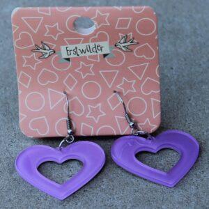 Erstwilder Earrings – Heart Cut Out Purple