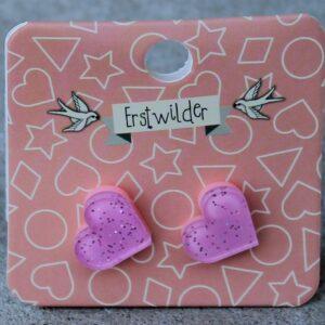 Erstwilder Stud Earrings – Heart Pink Sparkle