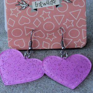 Erstwilder Earrings – Heart Pink Sparkle
