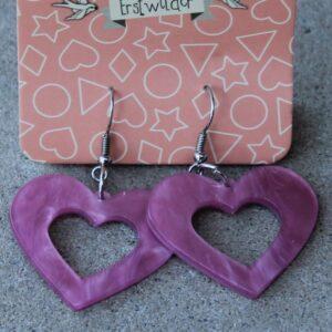 Erstwilder Earrings – Heart Cut Out Pink Swirl