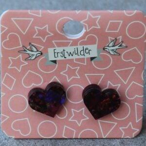 Erstwilder Stud Earrings – Heart Deep Reds