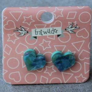 Erstwilder Stud Earrings – Heart Patchwork Green